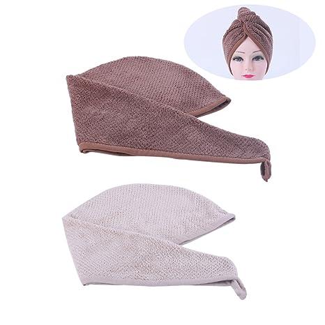 Frcolor Toallas para secar el cabello, Toallas para el cabello con secadora de microfibra Turbante