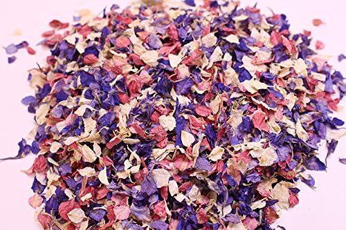 Bright Pink Purple Real Petal Biodegradable Wedding Confetti 1 Litre 12 Guests
