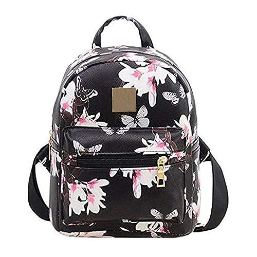 5018ea01ea9 Donalworld Women Backpacks Girl Casual Flower Print PU Leather School Bags  Small Black