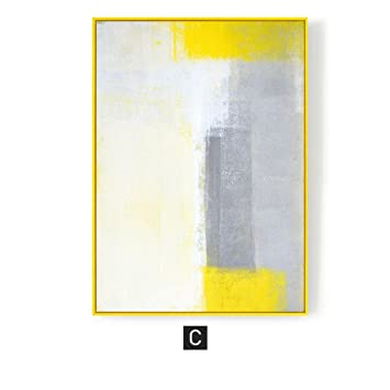 Objets De Décoration Murale Peinture Abstraite Jaune Et Gris Blocs