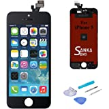 SANKA LCD Screen Digitizer Display Touch Screen Replacement Repair Kit Glass Frame Assembly Panel with Tools for iPhone 5,Black
