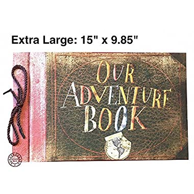 Linkedwin Extra Large Our Adventure Book, 15 x 9.85 Inch, Wedding Photo Album/Guest Book, DIY Scrapbook with Blank & Thick Kraft Paper (Brown Pages)