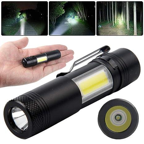 zmigrapddn Aleación De Aluminio Portátil Al Aire Libre Mini Batería Powered Highlight USB Recargable Linterna LED Lámpara Antorcha Luz Para Acampar
