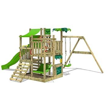 Fatmoose Portique De Jeux En Bois Bananabeach Big Xxl Aire De Jeux Avec Balançoire Toboggan Vert Clair Mur D Escalade échelle De Cordes Bac à