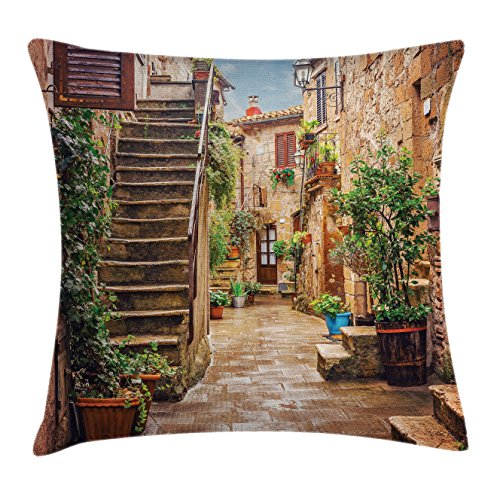 Street View Old Cars (Italian Throw Pillow Cushion Cover by Ambesonne, View of Old Mediterranean Street with Stone Rock Houses in Italian City Rural Print, Decorative Square Accent Pillow Case, 26 X 26 Inches, Multicolor)