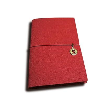 Zhi Jin A5 Fieltro rayas en blanco diario de papel Diario Bloc de notas garabatos), cierre de goma, color rosso