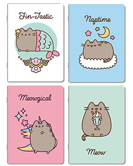 Pusheen - Cuaderno, diseño de gato, 4 unidades, escolar a ...