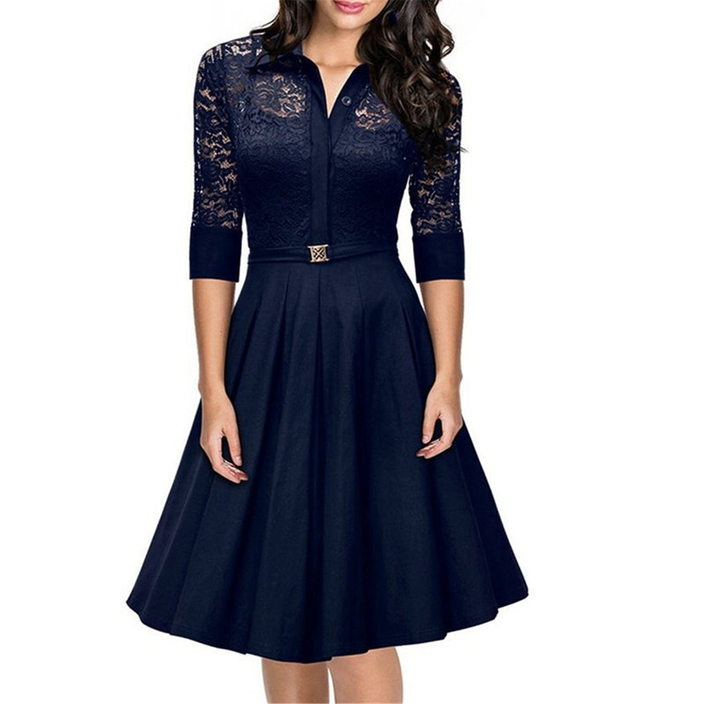 HUIJSNQ Spring Vintage Dress Big Size For Woman 2017 Lace Party Dresses Black Slim Elegant Ladies Evening Party Vestidos at Amazon Womens Clothing store: