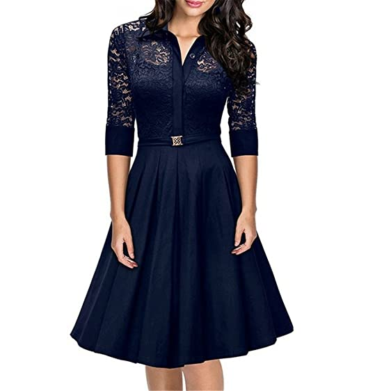 HUIJSNQ Spring Vintage Dress Big Size For Woman 2017 Lace Party Dresses Black Slim Elegant Ladies