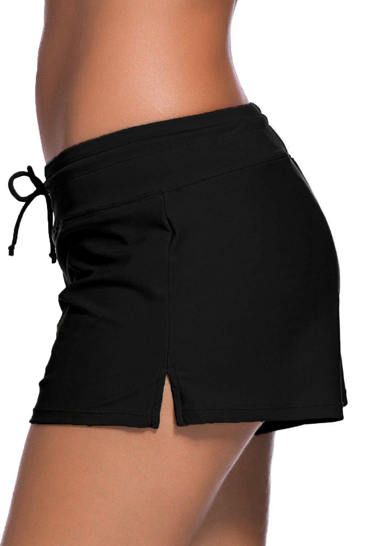 Aleumdr Women's Swim Boardshort Bottom Shorts Swimming Panty Medium Black by Aleumdr (Image #2)