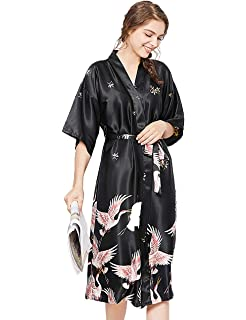 ETAOLINE Women s Long Kimono Robe Silk Dressing Gown Satin Nightwear ... ef8ac5507