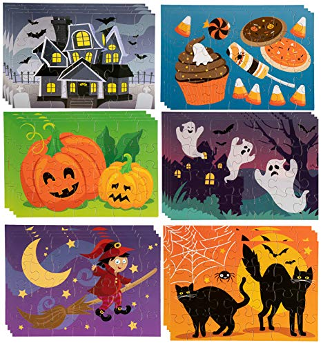Jigsaw Puzzles - 36-Pack 28-Piece Halloween Themed Puzzles for Toddlers, Kids Toy Puzzles, Halloween Party Favors, 6 Assorted Designs, 5.5 x 8 Inches by Blue Panda