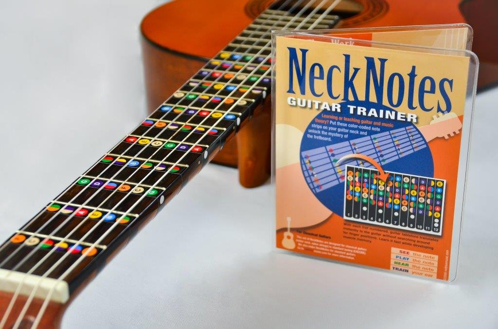 NeckNotes Guitar Trainer | Color Coded Fretboard Fret Map Note Stickers for Beginner / Learning Guitar | Classical Edition