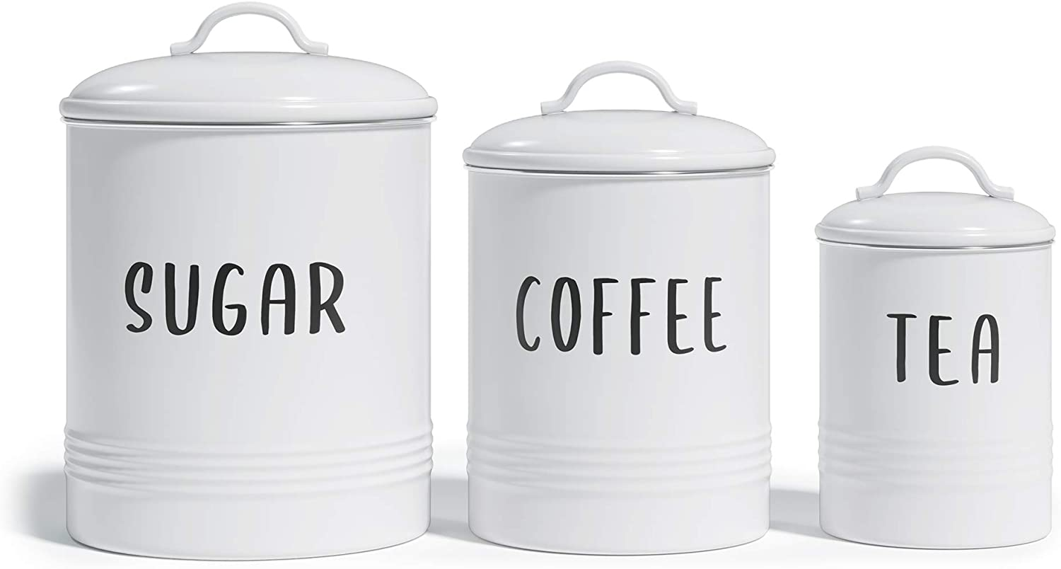 Barnyard Designs Set of 3 Decorative Nesting Kitchen Canisters, Airtight Containers with Lid, Rustic Farmhouse Sugar, Coffee, and Tea Storage for Kitchen Counter, White, Largest Measures 6.25