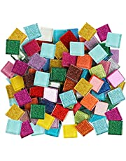 200g/225Pcs Mosaic Tiles for Crafts Assorted Color Glass Glitter Mosaic Pieces Bulk Square Crystal Stained Mosaic Tiles for DIY Picture Frames Handmade Jewelry Coasters Art Material Decoration, 1x1cm