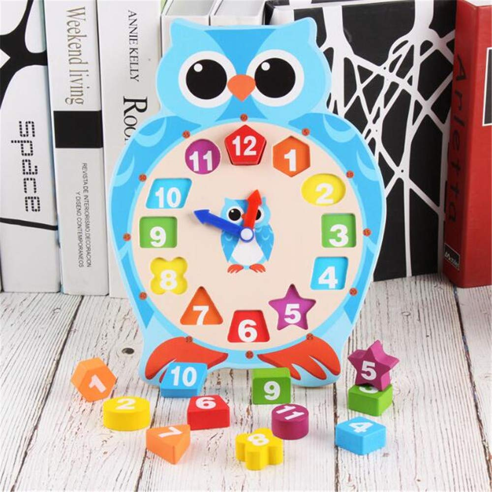 Gobus Wooden Teaching Clock Number Colour Geometric Shape Matching Building Blocks Toy Frog