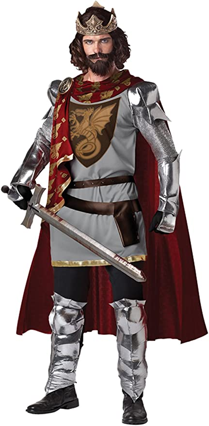 Adult Knight Costume Mens Medieval Crusader Fancy Dress King Arthur Outfit