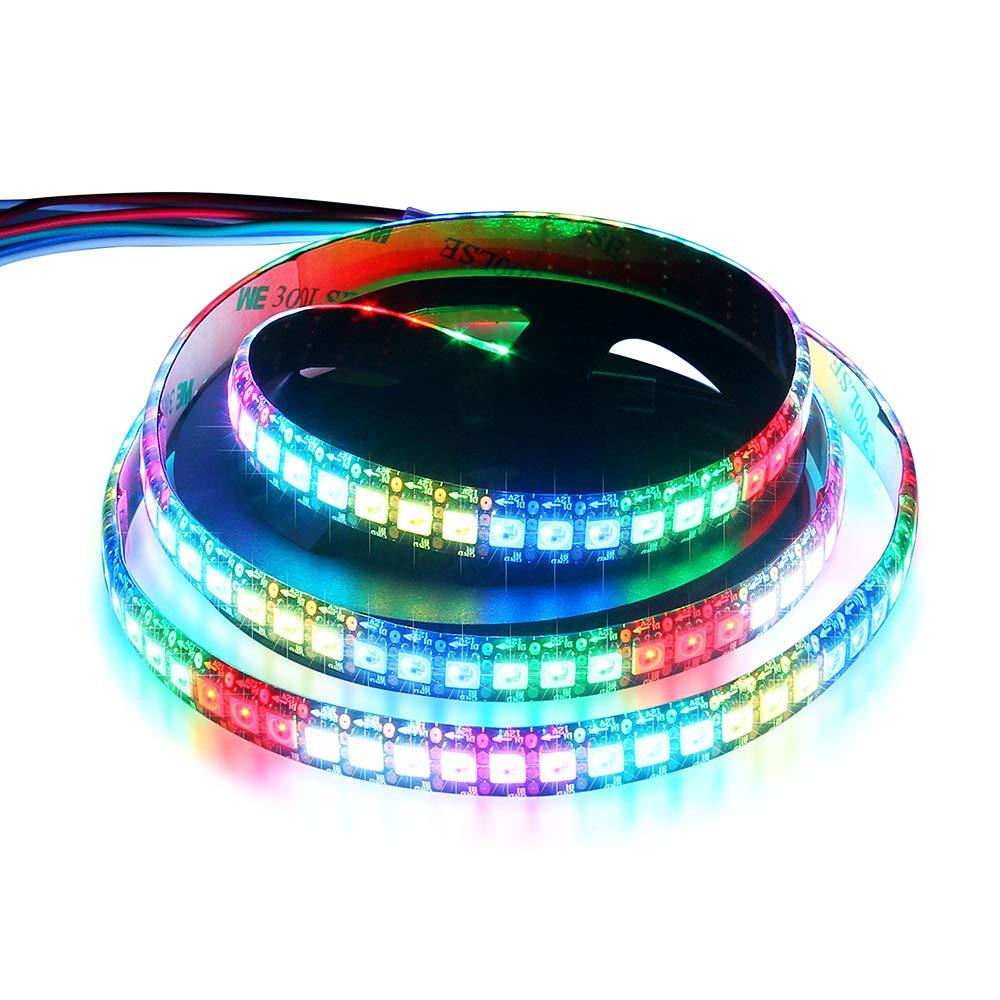 WS2815 (12V WS2812B) LED 1M 144 Pixels Aclorol Individual Addressable 5050 RGB LED Flex Strip Light Epoxy Waterproof IP65 Black PCB DC 12V
