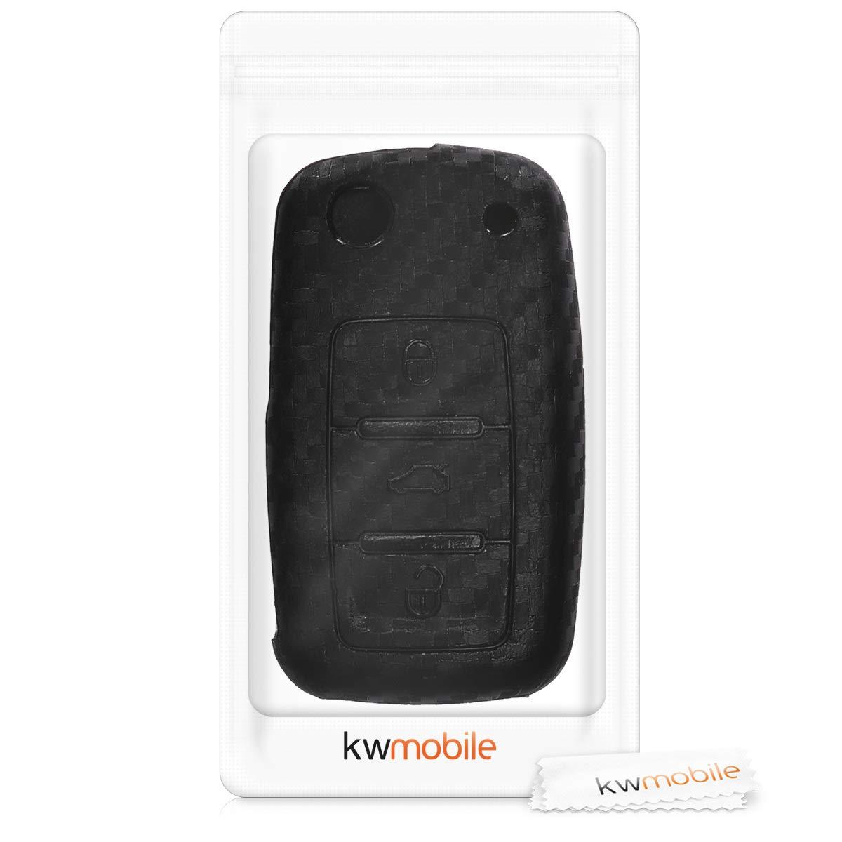 Suave kwmobile Funda de Silicona para Llave de 3 Botones para Coche VW Skoda Seat Blanco//Rojo Carcasa Protectora - Case Mando de Auto Silicona de