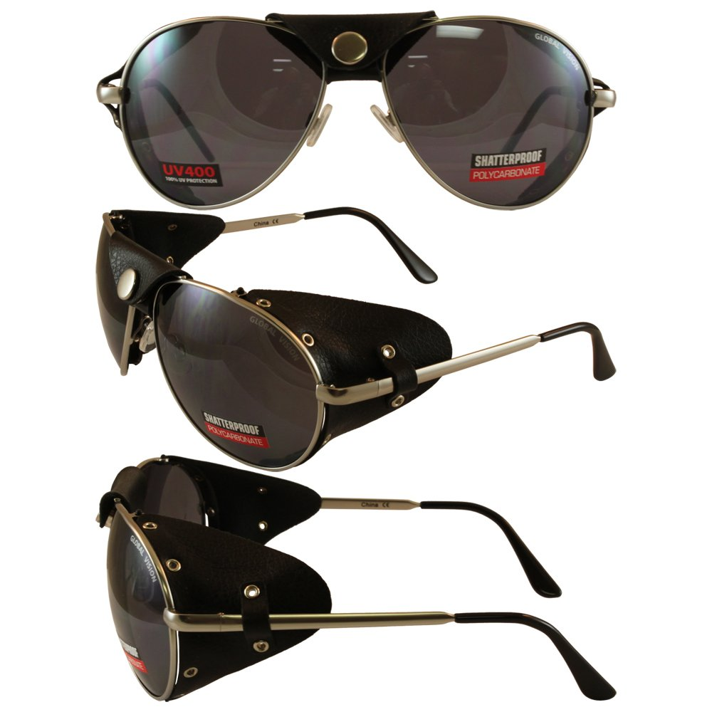 Global Vision Aviator 3 Motorcycle Sunglasses Silver Frames Smoke Lenses