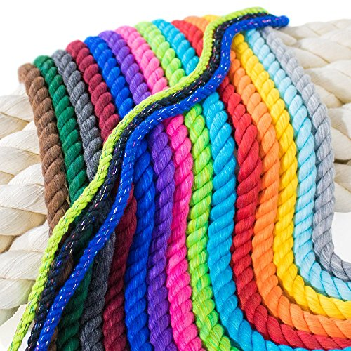 Paracord Planet Twisted 3 Strand Natural Cotton Rope Artisan Cord - 1/4, 1/2, 5/8, 3/4, and 1 inch Diameters - Super Soft White and Assorted Colors by The Foot - 10', 25', 50', 100' and Full Spools