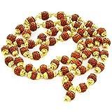 Ramneek Jewels Divya Shakti Rudraksha Rudraksh 5 Mukhi Japa Mala Rosary With Golden Cap Hindu Meditationyoga