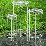 The French Country Style Plant Stand Tables, Set of 3, Round Tops, Slim Line Base, Romantic Vintage Style Wrought Iron, For Indoor and Outdoor Use, 21, 25, and 29 Inches Tall, By Whole House Worlds