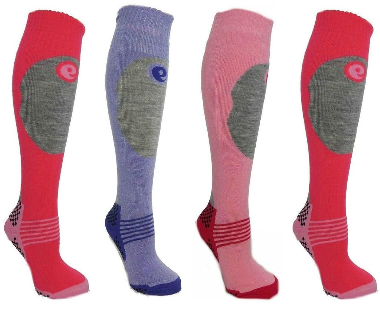 Kinder SKI-Socken, 4 Paar, für Jungen und Mädchen, in 3 Größen erhältlich, Extra-Komfort-Polsterung Wärme und Schutz für Schienbein hohe Performance.