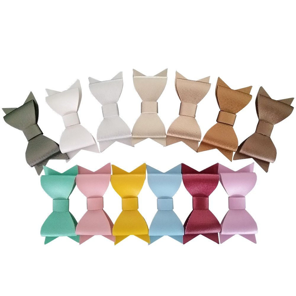 Yazon 20pcs 2.8 Inch Leather Bows Hair Clips Baby Leather Hair Bows Clips Mix Color