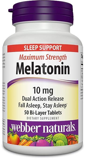 Webber Naturals Melatonin Maximum Strength Dual Action Tablets, 50 Count