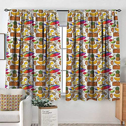"""Mozenou Summer Custom Curtains Vacation Themed Illustration with Straw Hat Banana Flip Flops and Travel Suitcase Kid Blackout Curtains 55"""" W x 39"""" L Multicolor"""
