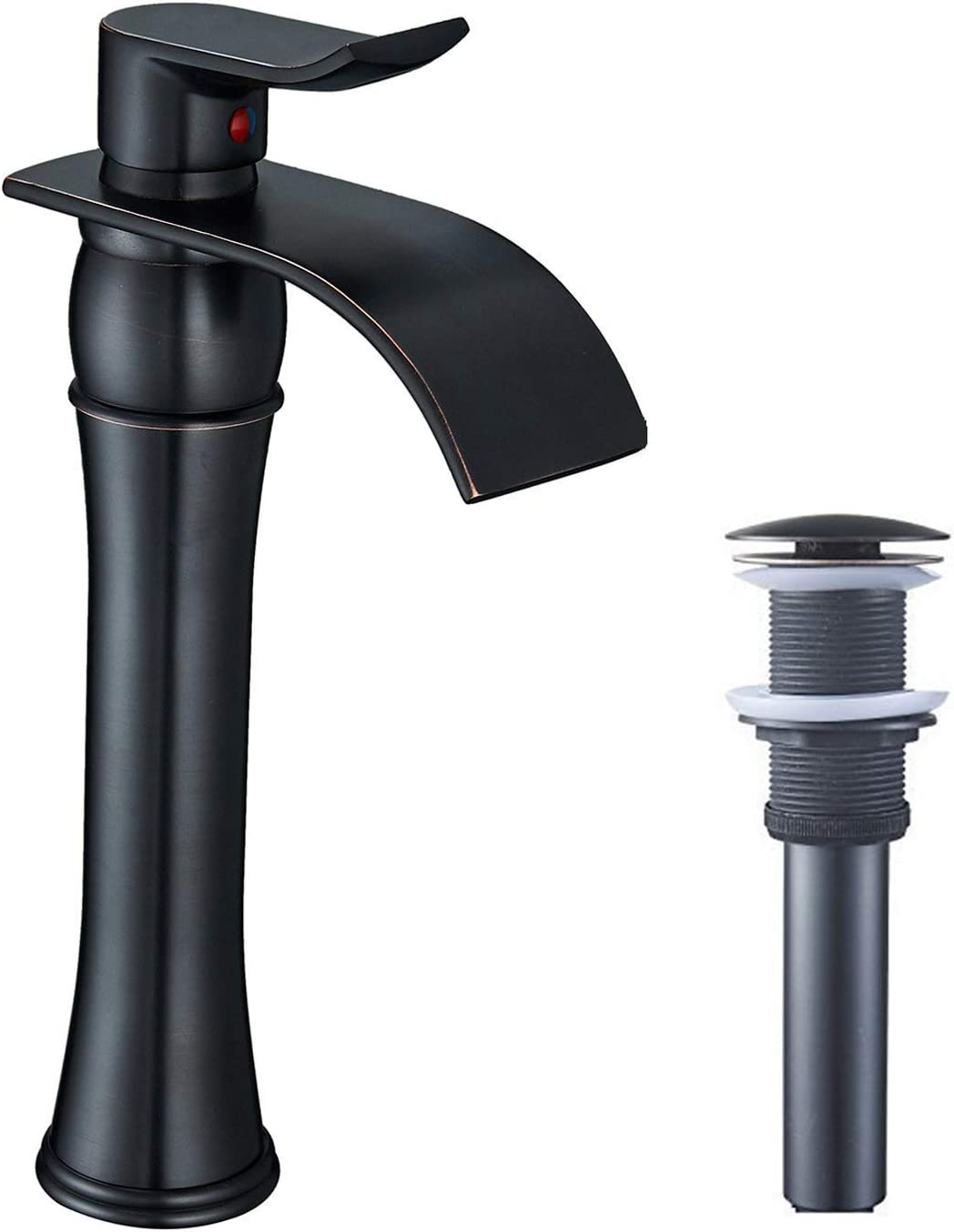 BWE Vessel Sink Faucet Waterfall Spout Oil Rubbed Bronze Commercial Single Handle One Hole Bathroom Deck Mount With Matching Pop Up Drain Without Overflow