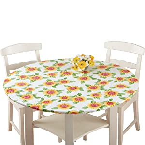 Collections Etc. Patterned Fitted Table Cover with Soft Flannel Backing and Durable Wipe-Clean Vinyl Construction, Sunflower, Round