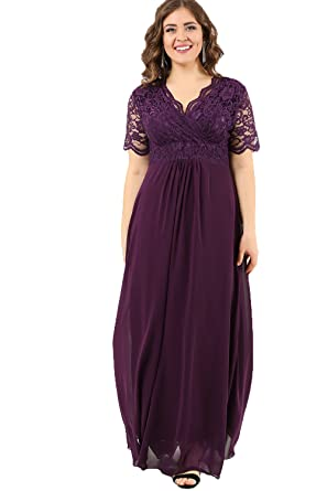 0368be561 Angelino Boutique Plus Size Women's Full Lace Fabric Top Guipure Short  Sleeve Evening Dress Purple DD793