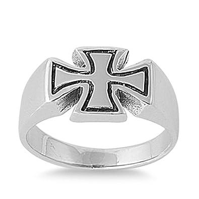 Amazoncom Sterling Silver Womens Biker Iron Cross Ring Sizes 5