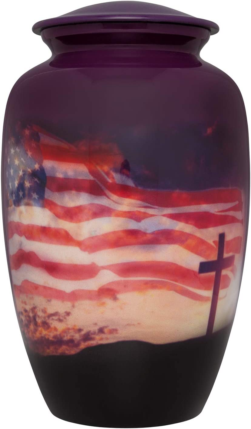 Flag and cross Funeral Urn - Cremation Urn for Human Ashes - Aluminum -Suitable for Cemetery Burial or Niche - Large Size fits Remains of Adults up to 200 lbs - Veteran Patriotic urn