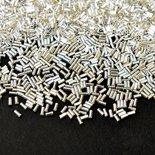 M.G.B Japanese Bugle Glass Tube Beads for Jewelry Making and Beading, Silver Color, 3MM, 1440 Pieces
