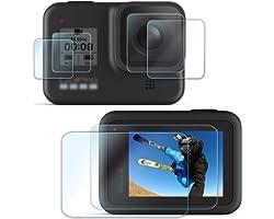 [6 PCS]FitStill Screen Protector for GoPro Hero 8 Black, 4pcs Ultra Clear Tempered Glass Screen Protectors + 2pcs Display HD
