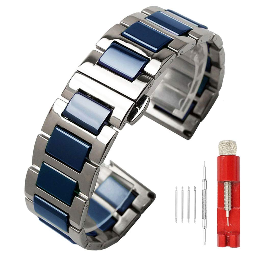 Luxury Blue Ceramic 22mm Watch Band Replacement Stainless Steel Watch Strap Bracelet Deployment Clasp Metal Band All Links Removable for Men Women by SINAIKE