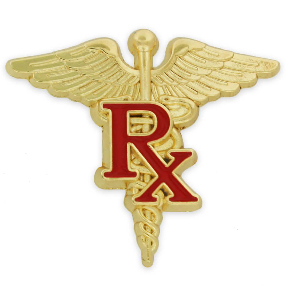 PinMart's Gold and Red RX Caduceus Enamel Lapel Pin