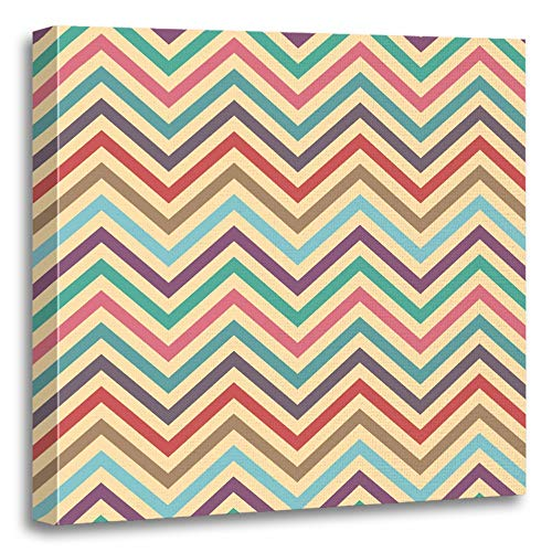 Emvency Painting Canvas Print Artwork Decorative Print Beige Vintage Chevron Pattern Each Color in Separate Layer Easy to Change Blue Wooden Frame 12x12 inches Wall Art for Home Decor