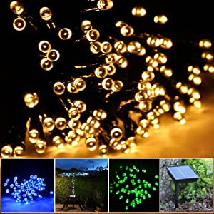 Lychee Solar powered string light 55ft 17m 100 LED Solar Fairy light string for Garden,Outdoor,Home,Christmas Party (17m 100Leds, Warm White)