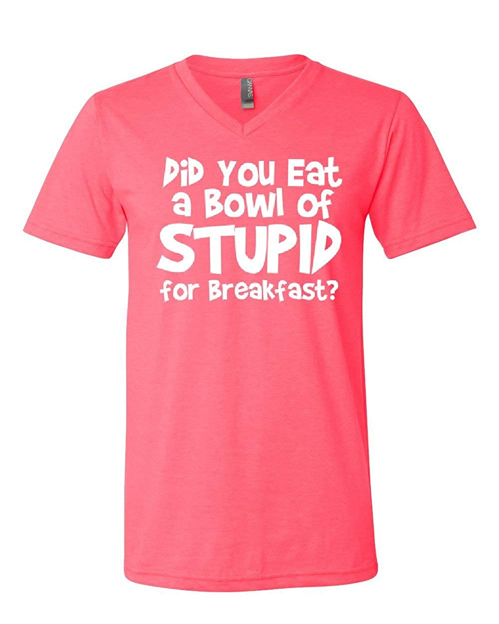 Did You Eat a Bowl of Stupid V-Neck T-Shirt Adult Offensive Humor Funny Tee