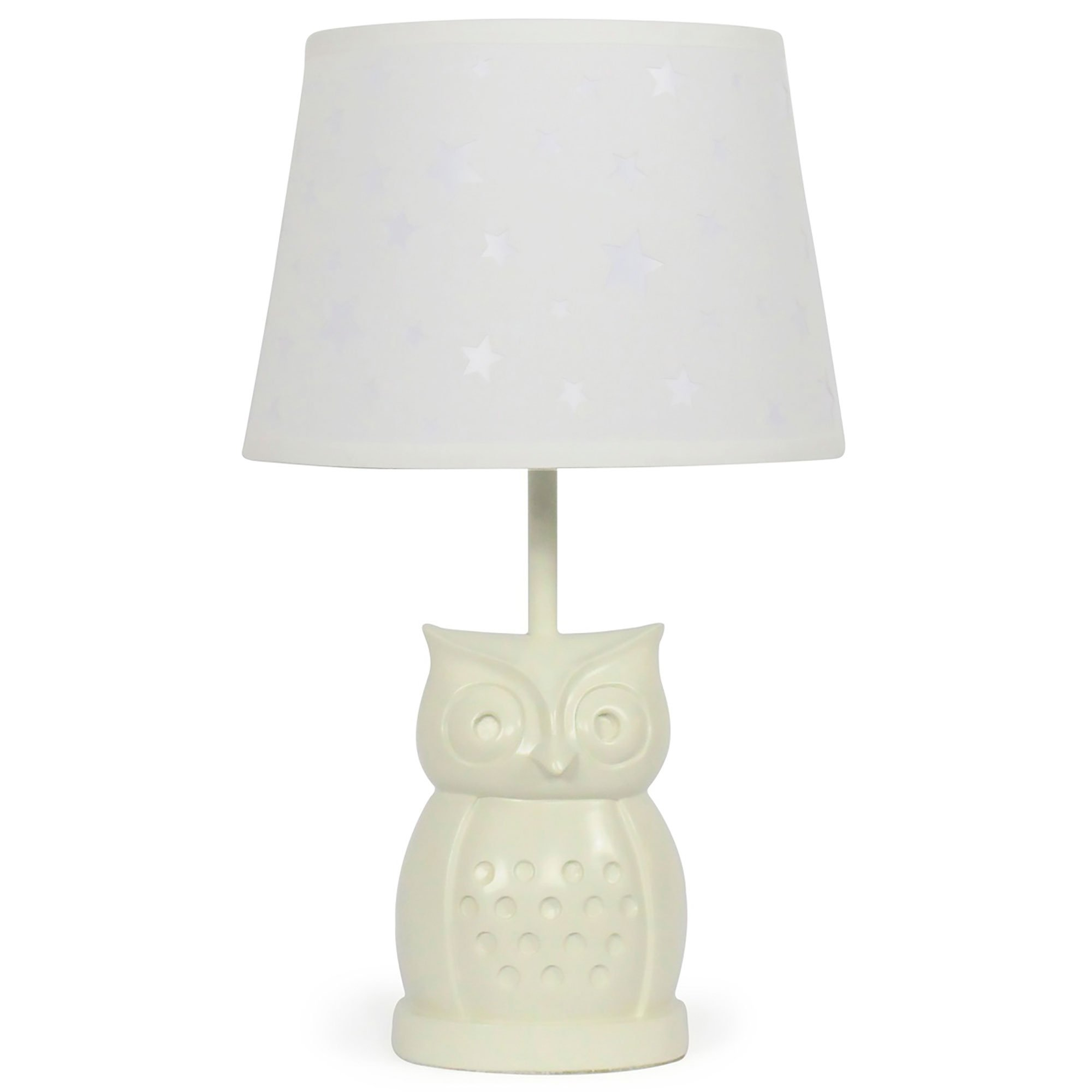 White Star Nursery Lamp Shade with White Owl Base, CFL Bulb Included