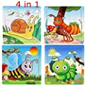 Kids Puzzles Toys 4 Pack, OMGOD Wooden Animals Fancy Education And Learning Intelligence Toys Jigsaw Puzzles, 4pcs a Pack