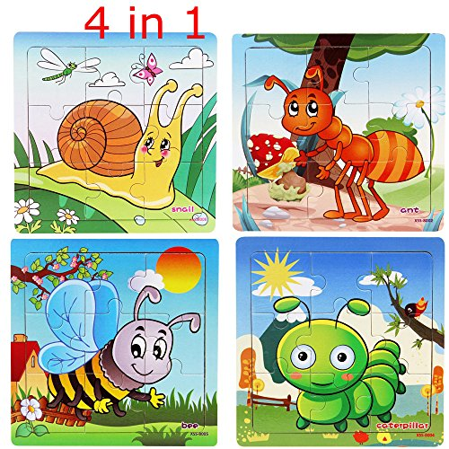 Kids Puzzles Toys 4 Pack, OMGOD 9 pcs Wooden Animals Fancy Education And Learning Intelligence Toys Jigsaw Puzzles, Ant, Caterpillars, Snail, Bee 4pcs a Pack (Snail Jigsaw)