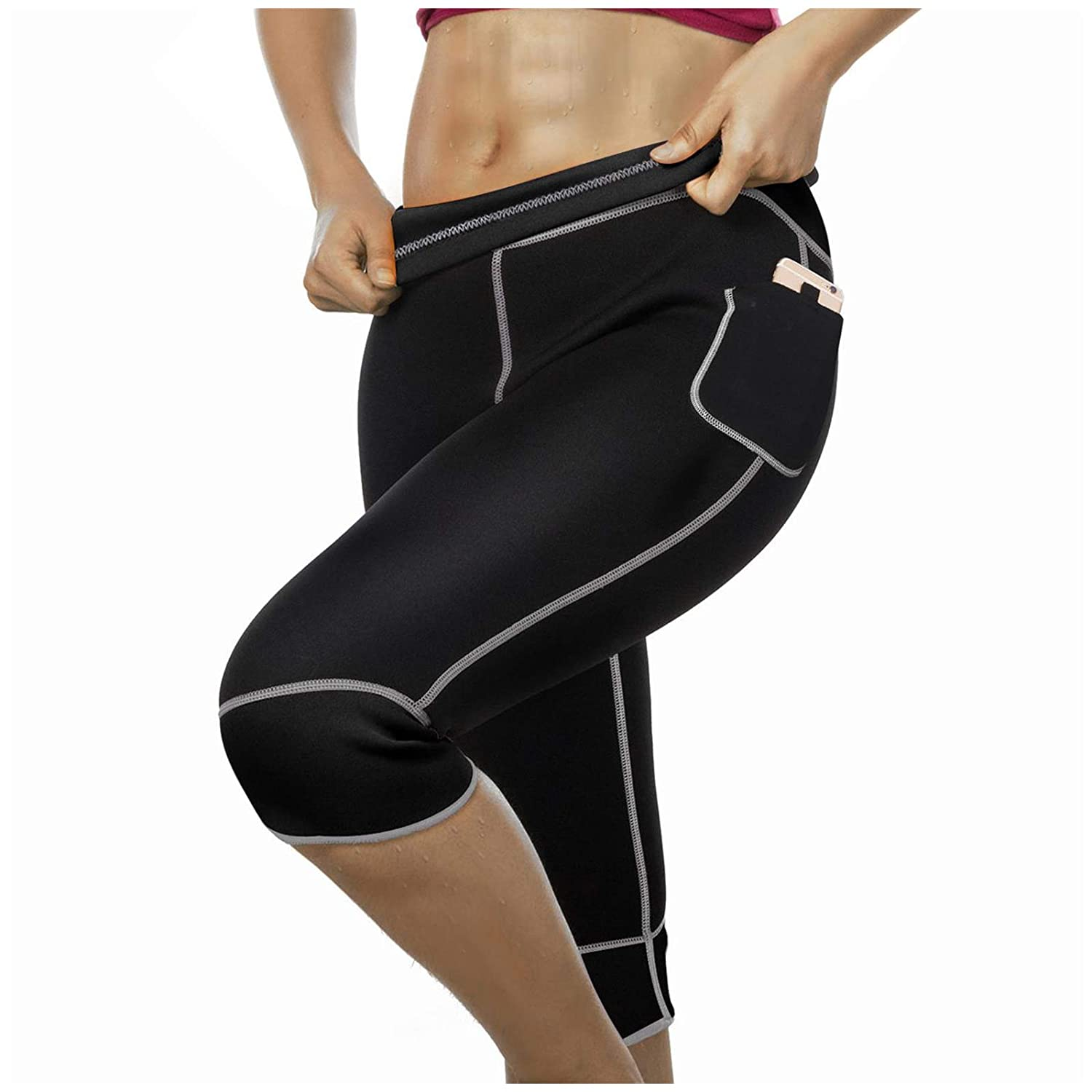 5c5988e3ee9890 Amazon.com  Women Weight Loss Hot Neoprene Sauna Sweat Pants with Side  Pocket Workout Thighs Slimming Capris Leggings Body Shaper  Clothing