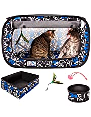 "CheeringPet, Cat Travel Cage: Portable Pop Up Pet Crate with Collapsible Litter Box, Foldable Feeding Bowl, Hanging Feather Teaser and Ball, Carrying Bag, Extra Large 32"" X 19"" X 19"""
