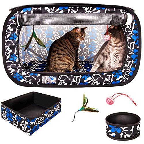 (CheeringPet, Cat Travel Cage: Portable Pop Up Pet Crate with Collapsible Litter Box, Foldable Feeding Bowl, Hanging Feather Teaser and Ball, Carrying Bag, Extra Large 32