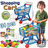 FB FunkyBuys® Kids Children Boys/Girls Blue Shopping Trolley Cart w/ 34Pcs Fruits & Vegetables (SI-TY1015)